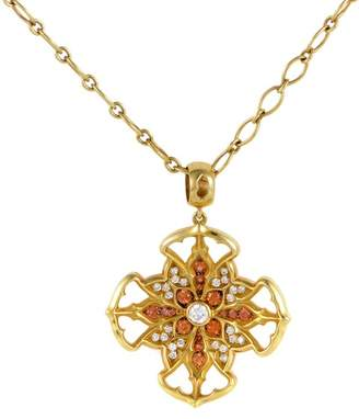 Magerit Vitral Vidriera Gold Diamond & Orange Sapphire Cross Pendant Necklace