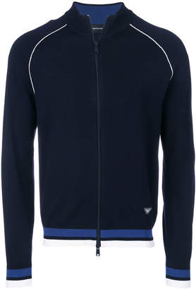 Emporio Armani contrast-trim zip-up cardigan
