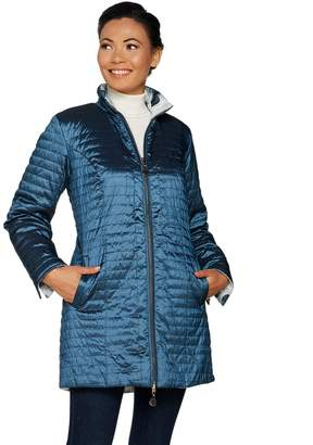 Dennis Basso Water Resistant Horizontal Quilted Coat