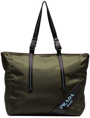 Prada green logo embossed nylon tote bag