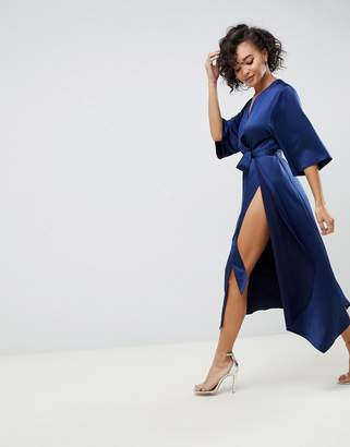 Asos Design DESIGN jumpsuit with wrap front and hanky hem in satin
