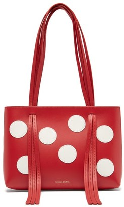 Mansur Gavriel Fringe Mini Polka Dot Leather Bag - Womens - Red White