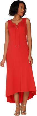 Isaac Mizrahi Live! Petite Lace-Up Neck Hi-low Hem Maxi Dress