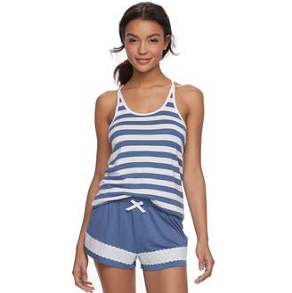 Peace Love & Fashion Juniors' Peace, Love & Fashion Tank & Boxer Shorts Pajama Set