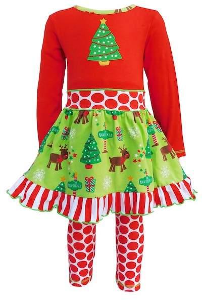 AnnLoren Red & Green Christmas Tree & Polka Dot 2-Piece Set (Toddler, Little Girls, & Big Girls)