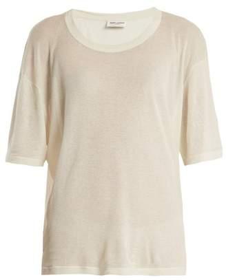 Saint Laurent Scoop Neck Cotton Blend T Shirt - Womens - Ivory