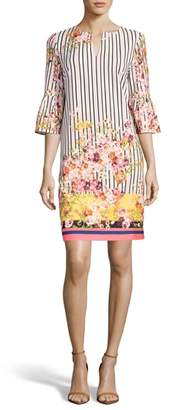 ECI Floral & Stripe Shift Dress