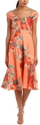 Lela Rose Silk-Lined Midi Dress