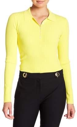 Derek Lam 10 Crosby Long Sleeve Banded Cutout Polo Shirt