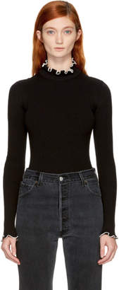 MSGM Black Ribbed Ruffle Turtleneck