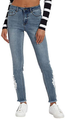 Missguided Anarchy Mid-Rise Floral-Trim Skinny Jeans
