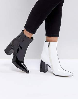 Public Desire Chaos Black and White Contrast Ankle Boots