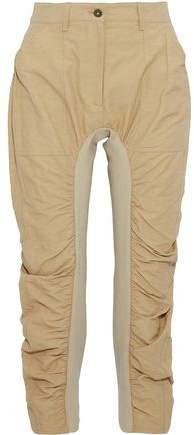 Cropped Ribbed Knit-Paneled Ruched Gabardine Slim-Leg Pants