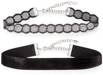 Chan Luu Two-Piece Metal Lace & Velvet Choker Necklace Set