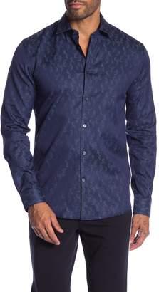 Lindbergh Jacquard Cotton Slim Fit Dress Shirt