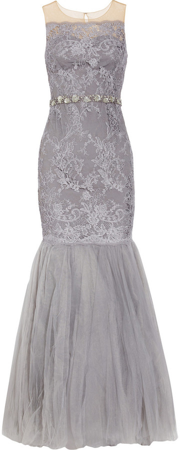 Notte by Marchesa Embellished lace and tulle fishtail gown