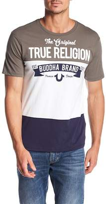 True Religion Verb Short Sleeve Paneled Crew Neck Tee
