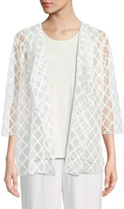 Caroline Rose Sheer Draped Cardigan with Latticework Embroidery, Plus Size