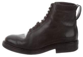 Louis Vuitton Round-Toe Leather Boots