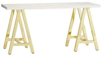Pottery Barn Teen Customize It Simple Small Wood Desk Metal A Frame, Simply White with Gold Base