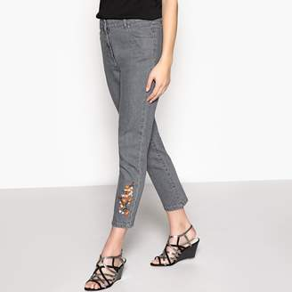 """Anne Weyburn Slim Fit Embroidered Jeans, Length 27"""""""