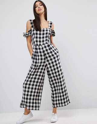 ASOS Jumpsuit in Gingham with Cold Shoulder Detail $60 thestylecure.com
