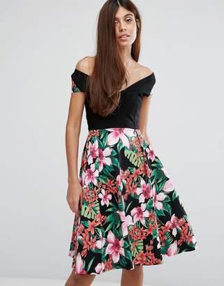 Vesper Floral Print Bardot Skater Dress $56 thestylecure.com