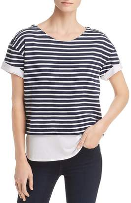 Andrew Marc Performance Layered-Look Striped Top