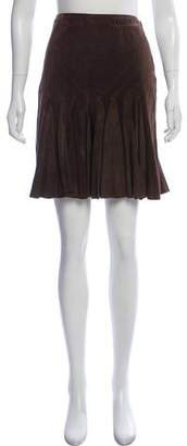 Diane von Furstenberg Pleated Leather Skirt