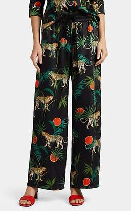 Milly Women's Leopard-Print Wide-Leg Pajama Pants