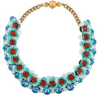 Shourouk Floral Aqua Collar Necklace