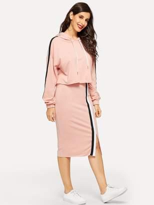 Shein Color-block Sleeve Hoodie & Slit Skirt Set