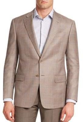 Armani Collezioni Plaid Virgin Wool Blazer