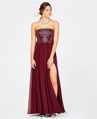 Speechless Juniors' Caviar-Beaded Strapless Gown