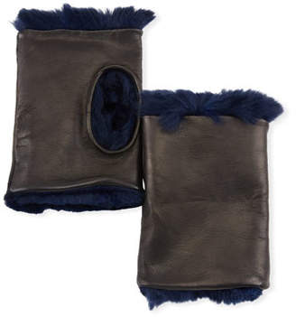 Guanti Giglio Fiorentino Fingerless Leather Gloves w/ Fur Lining