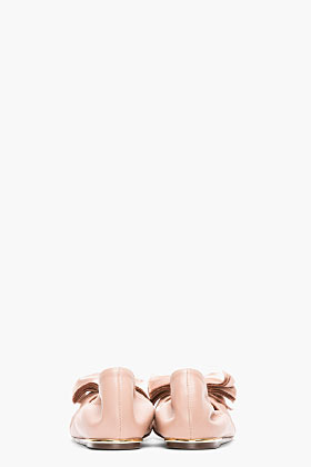Lanvin Dusty Rose Leather Bow Ballerina Flats