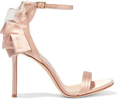 Jimmy Choo - Kerry 100 Ruffled Satin Sandals - Blush