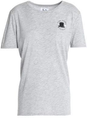 Zoe Karssen Printed Mélange Cotton-Blend Jersey T-Shirt