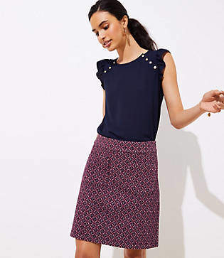 LOFT Tall Diamond Jacquard Knit Pocket Skirt