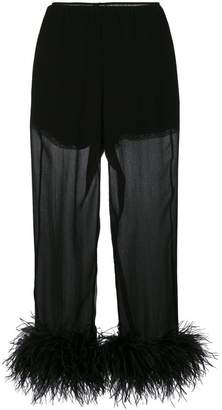 Prada Feathered Silk Cropped Trousers