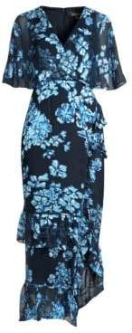 Saloni Women's Rose Silk Ruffle Midi Dress - Blue Insignia - Size 8