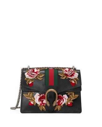 Gucci Dionysus Embroidered Leather Shoulder Bag, Black