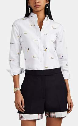 Thom Browne Women's Swimmer-Embroidered Cotton Oxford Cloth Blouse - White