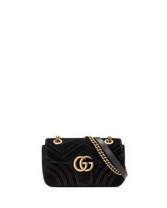 Gucci GG Marmont 2.0 Mini Quilted Velvet Crossbody Bag, Black $1,290 thestylecure.com