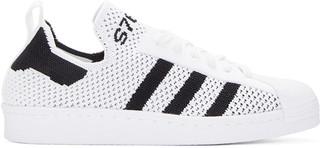 adidas Originals White Superstar 80s Primeknit Sneakers $120 thestylecure.com