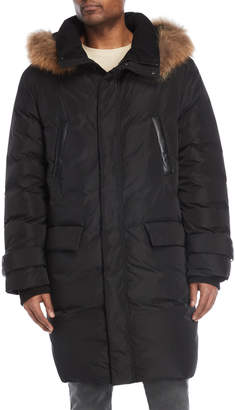 Mackage Black Real Fur-Trimmed Down Long Coat