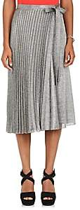 Barneys New York Women's Silk-Blend Lamé Wrap Midi-Skirt - Silver