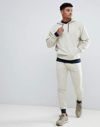 BEIGE ASOS DESIGN Tracksuit Oversized Hoodie/Skinny Joggers With Contrast Cuff In And Navy