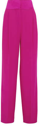 Paul & Joe Hammered Satin-trimmed Crepe Wide-leg Pants - Magenta