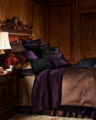 "Lauren Ralph Lauren Triangularly Pieced Purple Silk Pillow, 20""Sq."
